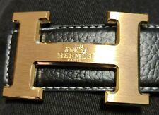 """Mens hermes Black leather belt Gold buckle 35""""-39"""""""