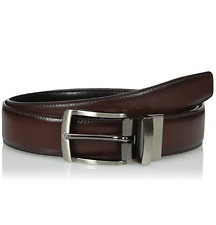$124 PERRY ELLIS Men BROWN BLACK LEATHER STRAP REVERSIBLE BUCKLE DRESS BELT 32