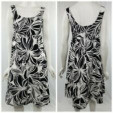 Liz Lange Maternity Dress Womens Sz Small Empire Waist Floral Print Black White
