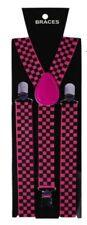 Unisex Fancy Dress Novelty Fashion Braces Neon Pink & Black Check Pattern New