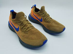 Nike Epic React Flyknit Men's Running Shoes Golden Beige Racer Blue Size 8