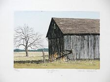 "Carol Collette Etching, Hand Painted and Signed ""Grey Barn"" 9"" x 6"""