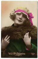 flapper girl with hat Vive Catherine tinted French photo postcard