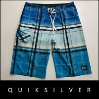 QuikSilver Men Plaid & Check Flat Front Board Shorts Blue Size 30