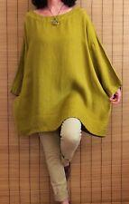 Bryn Walker Linen Kimono Sleeve Woven Oversize Style Tunic Chartreuse Sz XL