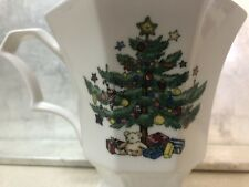 4 NIKKO CHRISTMASTIME PEDESTAL MUGS OCTAGONAL Footed Holiday Tree Coffee Cup EXC