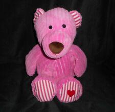 "16"" ANIMAL ADVENTURE 2016 PINK RIBBED TEDDY BEAR RED HEART STUFFED PLUSH TOY"
