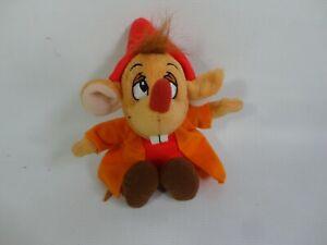 "Disney Store Cinderella Jaq Plush Mouse Soft Toy 7"" RARE Small Mice Orange Red"