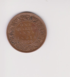 INDIA 1/4 QUARTER ANNA 1906.ERROR NO THE N IN INDIA.COIN HIGH GRADE .Y.117