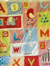 "COCALO ALPHABET LETTERS NUMBER ANIMAL TEXTURED 36 X 45"" BABY QUILT TOP BLANKET"