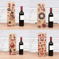 Christmas Gift Bag Kraft Paper Wine Bottle Bag Xmas Favor Home Party Supplies