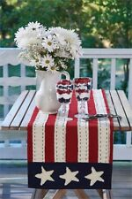STAR SPANGLED FLAG TABLE RUNNER : RED PATRIOTIC STAR PRIMITIVE CLOTH LINEN JULY