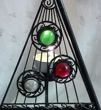 """New 21""""T Black Metal Triangle Candle Holder, 30 Jewels for 10 Flameless Candles"""