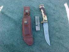 SCHRADE SUPER SHARP USA 153UH Uncle Henry Sheath Knife w Leather Scabbard Brass