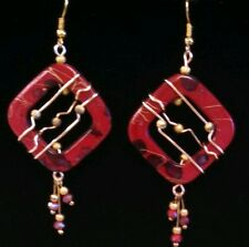 Unique gold wire wrap red bead frame red crystal earrings by Sandy of Scottsdale
