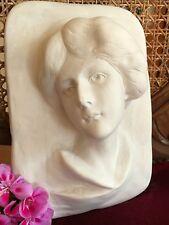 """Stuc - splendide coincé Relief """" Femme BR3 """" 25 x 18 cm en Plâtre"""