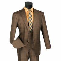 VINCI Men's Chestnut Brown Glen Plaid 3 Piece 2 Button Classic Fit Suit NEW