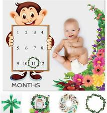 Baby Monthly Milestone Blanket Unisex- Wreath and 12 Stickers - Cotton Fleece