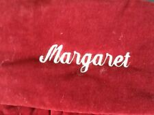 """Pottery Barn Red Channel Quilted Christmas Stocking """"MARGARET""""  New!"""