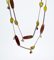 Rice Tube Banded Agate Gemstone Pearl Bead Long Chain Necklace Green Purple Red