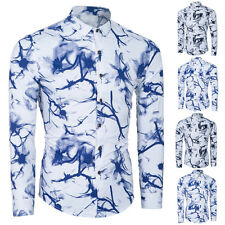 New Mens Long Sleeve Floral Print Shirts Formal Dress Shirt Casual Shirt Fashion