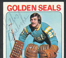 HAND SIGNED GILLES MELOCHE GOLDEN SEALS NHL CARD 1975 TOPPS #190 AUTO AUTOGRAPH