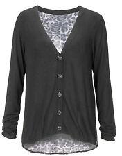 UK Size 12 Ladies Black Fine Knit Long Cardigan-Leopard Print Insert-pockets