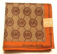MICHAEL KORS Handkerchief scarf bandana Brown Monogram Cotton Auth New