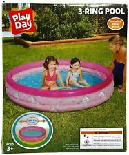 Play Day 3-Ring Inflatable Play Kids Swimming Pool, Pink Unicorns