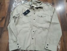 7 for ALL MANKIND Suede Leather Jacket Western Shirt, Size M, £800 Made in Italy