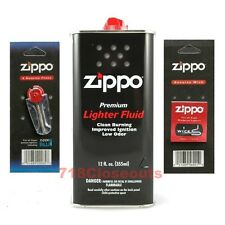 Zippo Lighter 12oz Can Fuel Fluid and Flint & Wick Value Pack Combo Set NEW