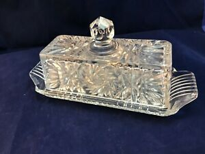 Vintage Ornate Crystal Clear Cut Pressed Covered Rectangle Butter Dish artcut