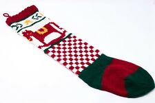"Vintage Christmas Stockings Rocking Horse Maroon White Checkered 27"" Stocking"