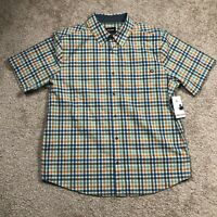 NWT $60 Mens MARMOT Short Sleeve Button Meeker Shirt Plaid Pond Green : Size 2XL