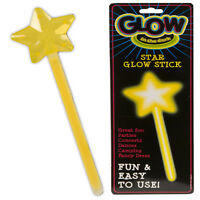 GLOW IN THE DARK GLO STAR STICK WAND NEON PARTY FANCY DRESS GLOWING KIDS HEN