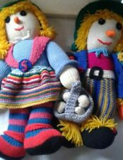 Hand Knitted Scarecrow Doll Girl and boy Handmade 15 Inches halloween fall