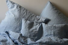 Leinen Bettwäsche Garnitur, Hellblau, 200x 200 cm, 2 St. 80x 80 cm, stone washed