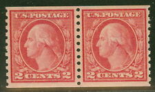 US #454 2¢ red, p. 10 Coil pair, og, NH, XF, PF certificate, Scott $850.00