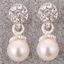 Silver tone bridal Jewelry crystal Rhinestone Pearl double ball stud Earrings