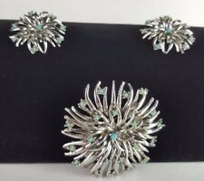 Vintage Judy Lee Earrings and Brooch Silver Tone Floral Cabochon