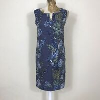 Next Petite Dress 6 Blue Floral Sheath Straight Sleeveless Tunic Holiday Summer