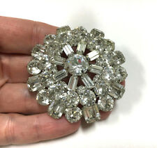Vtg Signed WEISS Domed Clear Round & Baguette Rhinestone Brooch Silver cc53m