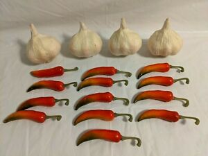 Faux Fake Foam Garlic and Chili Peppers Home Decor Craft Projects