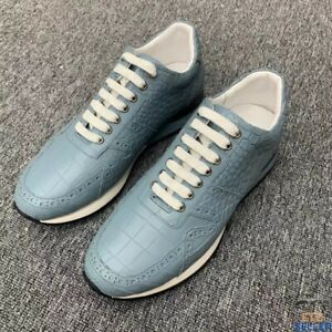 Fashion Alligator Sneakers Lace-up Shoes for Men Light Blue Size 6-11US #5102
