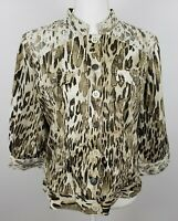 Chico's womens animal leopard print blazer sz 1 med brown lace jacket jean