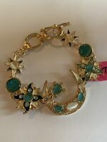 Betsey Johnson Fashion Sun ( MOON )Star Rhinestone BLUE/BEIGE Bracelet-BJ50043
