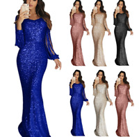 Womens Sequin V Neck Bodycon Maxi Dress Cocktail Ball Gown Party Evening Dresses