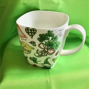 Crown Trent Bone China Irish Tea/Coffee Mug Square Shamrock Ireland St. Patrick