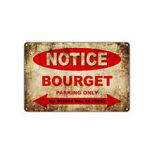 Bourget Motorcycles Parking Sign Vintage Retro Metal Decor Art Shop Man Cave Bar