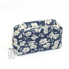 New Large Primrose Flower Floral Print Blue Cosmetic Make Up Wash Toiletry Bag